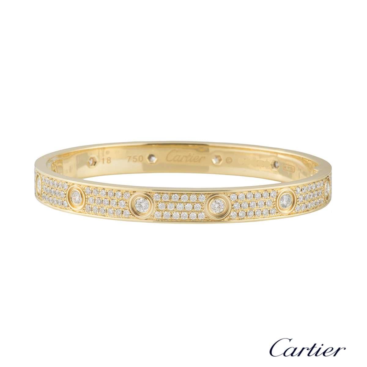 cartier yellow gold pave diamond love bracelet size 18